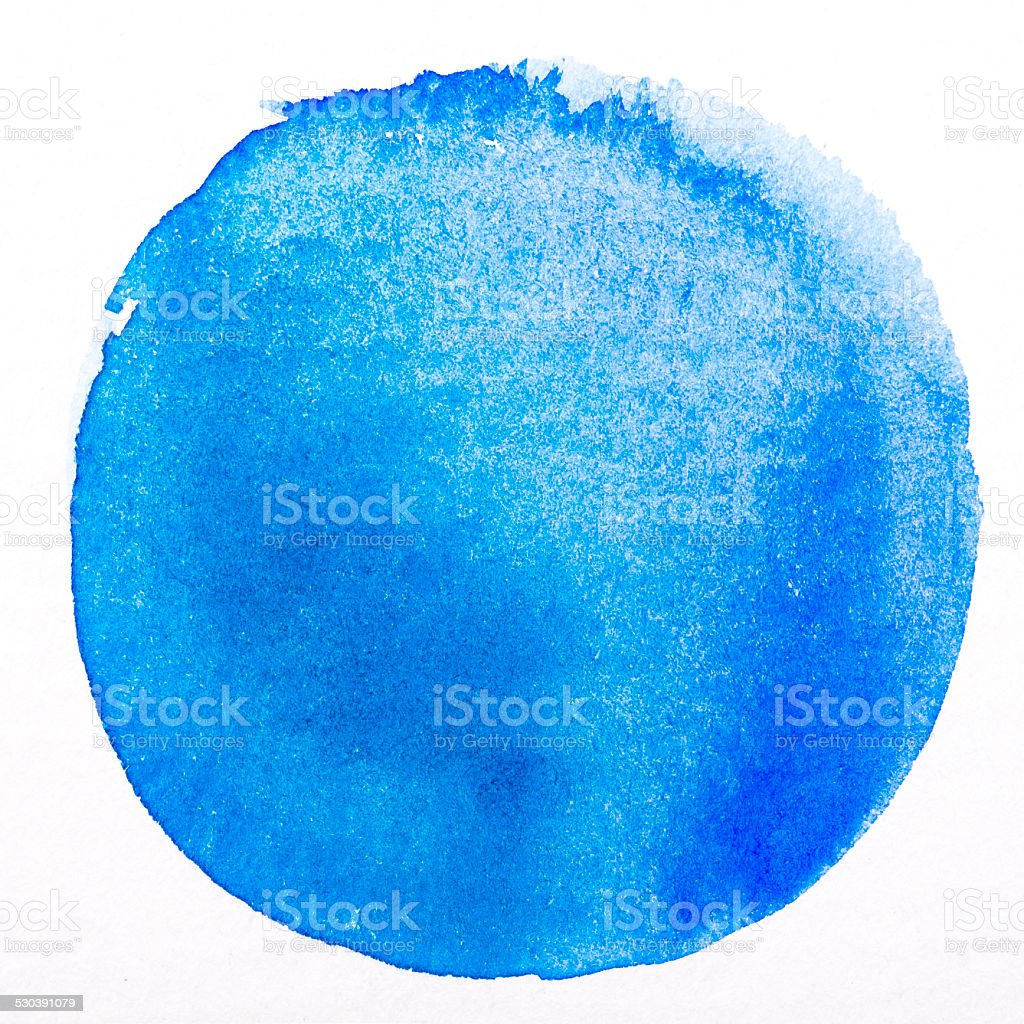 Art watercolor blue circle paint on white with clipping Path stock photo