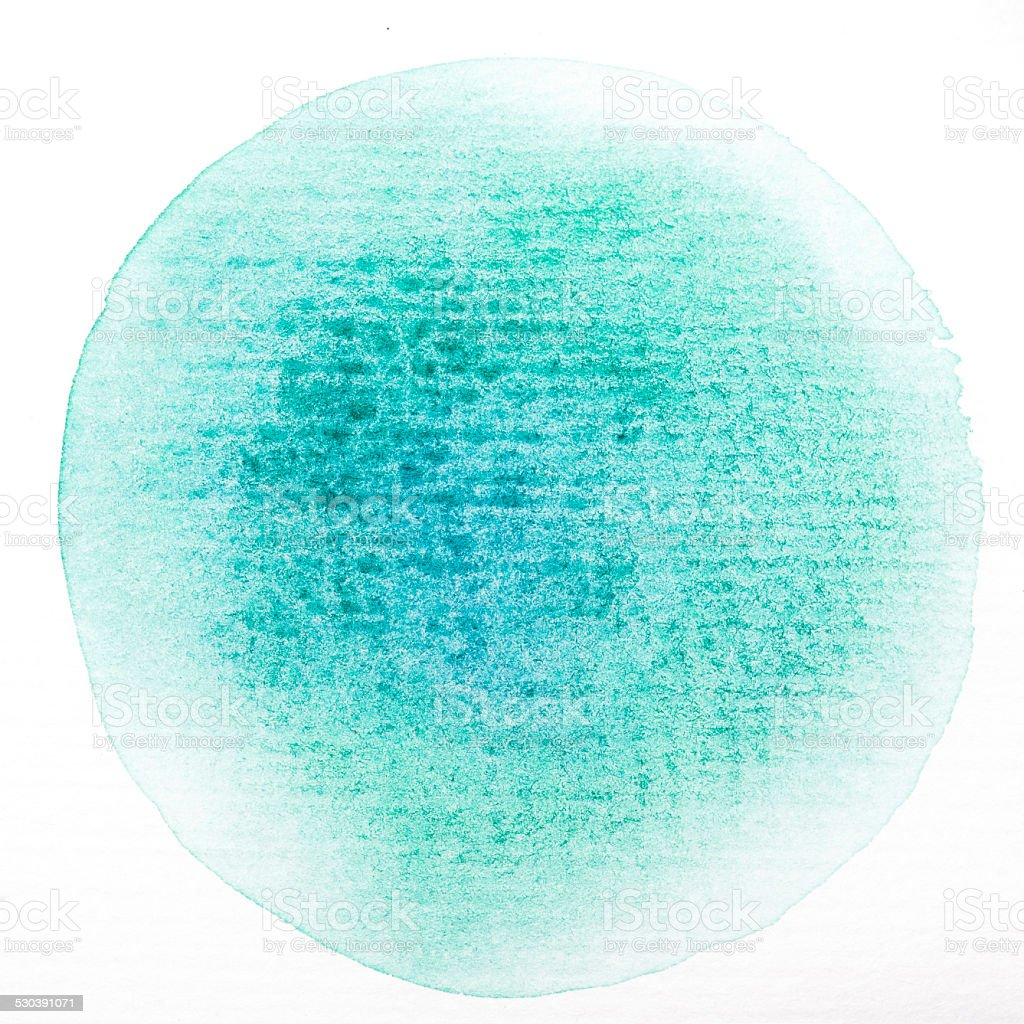 Art watercolor green circle paint stain isolated  with clipping Path stock photo