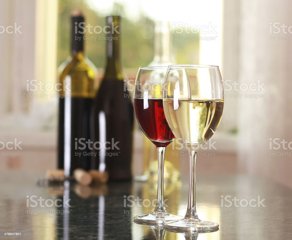 art wine glasses on the table stock photo