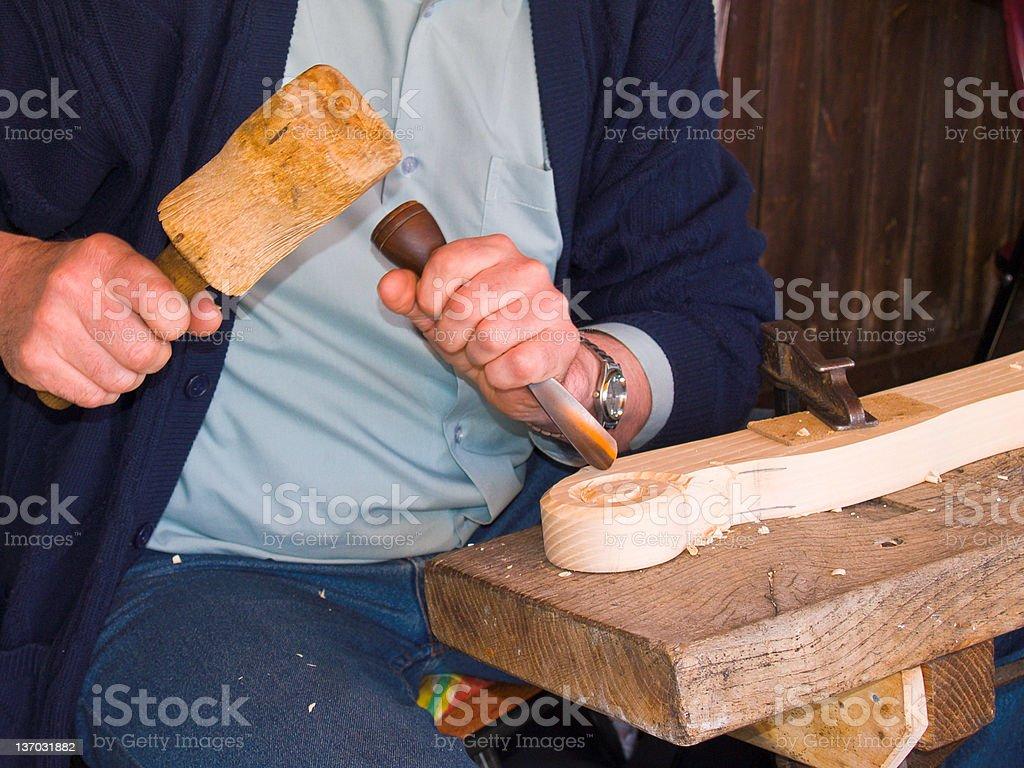 Art Wood chiseling royalty-free stock photo