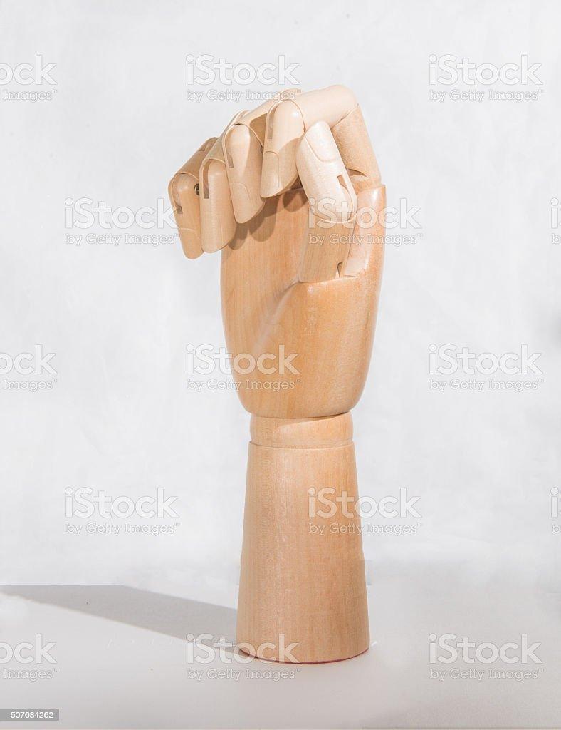 Art wooden posing hand. stock photo