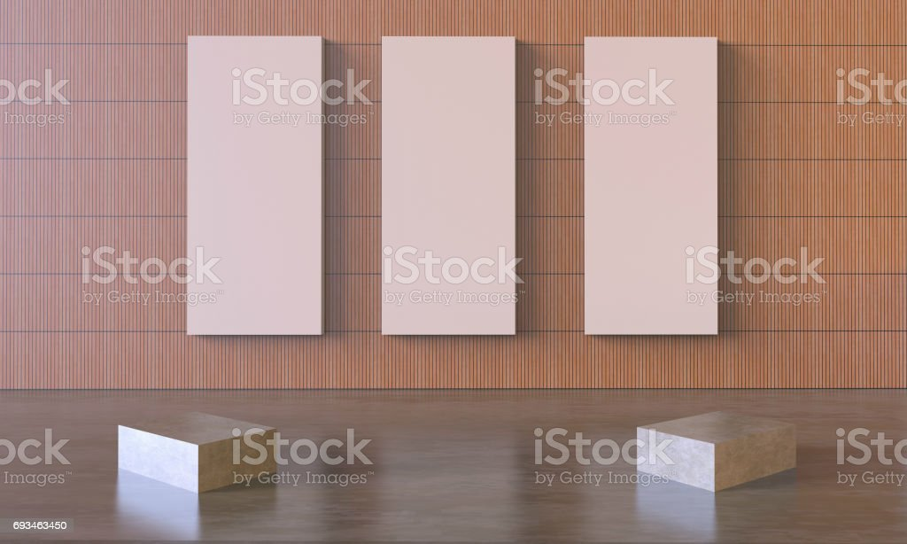 Art work and Modern Three Picture frame on simple Wall stock photo