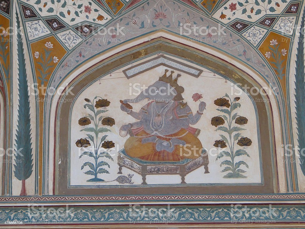 Art work in Amber Fort near Jaipur city in India stock photo