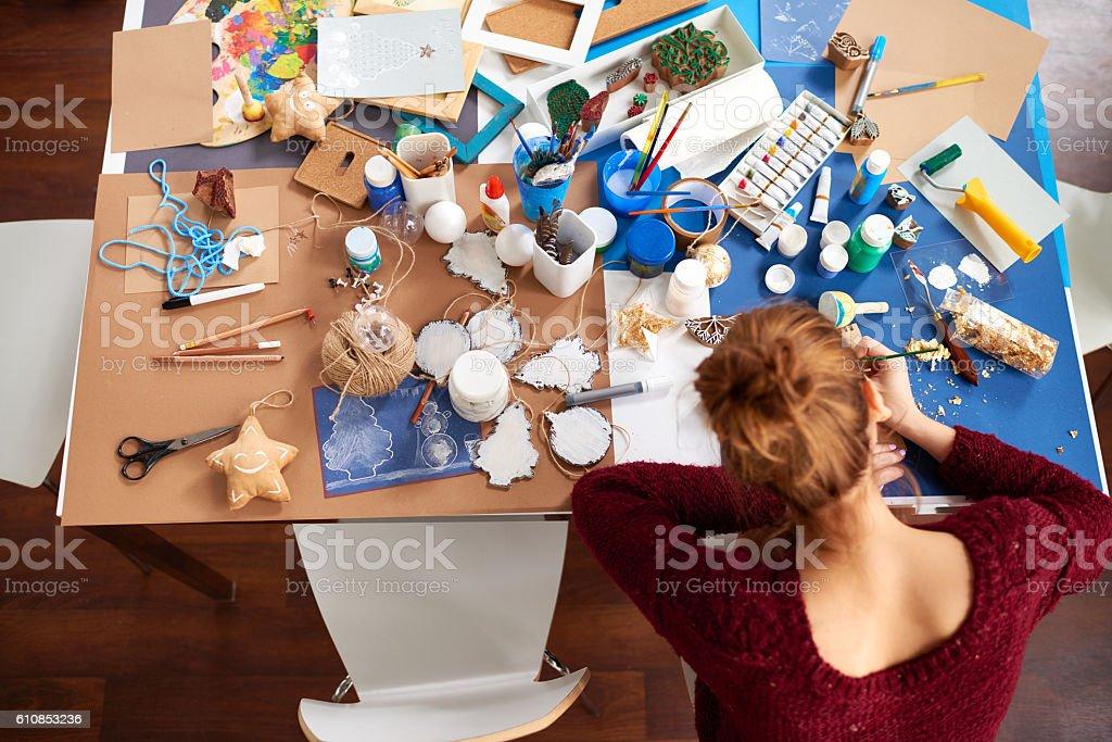 Art workspace stock photo