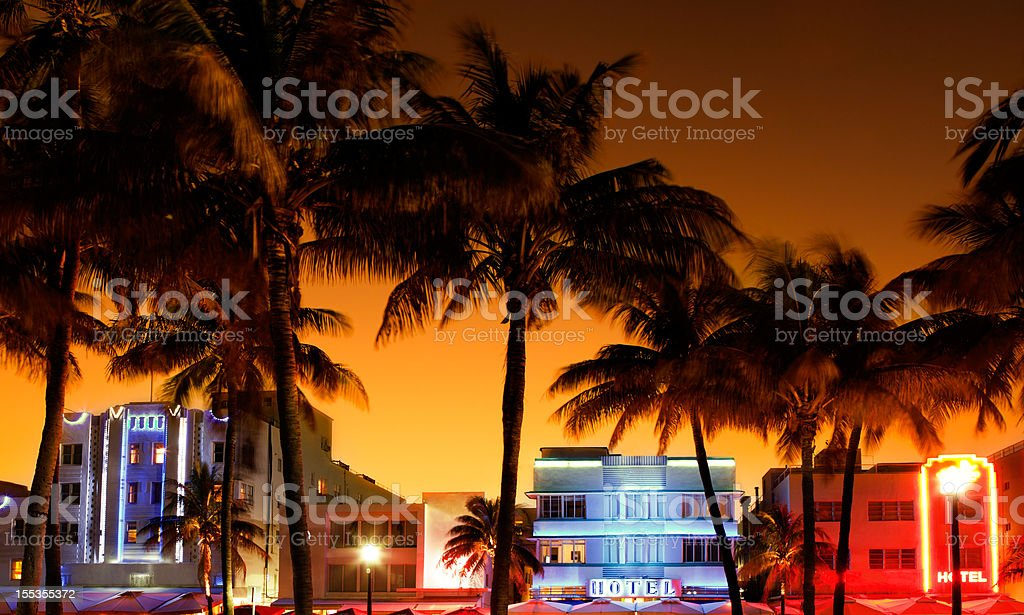art-deco hotels and restaurants in South Beach, Miami during sunset stock photo