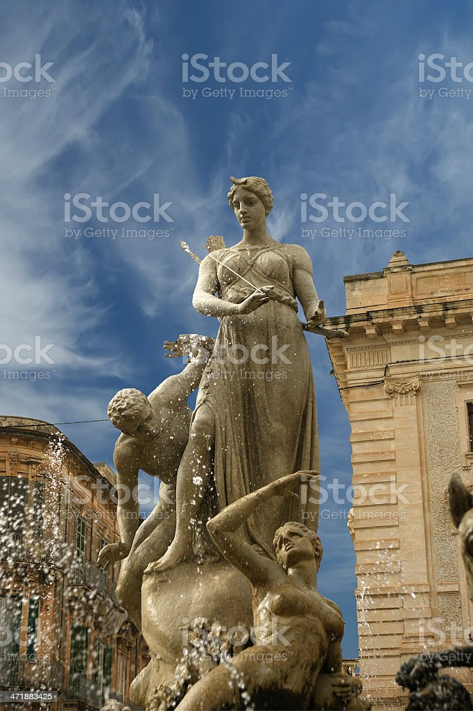 Artemide fountain. Syracuse (Siracusa, Sarausa),  Sicily, Italy stock photo