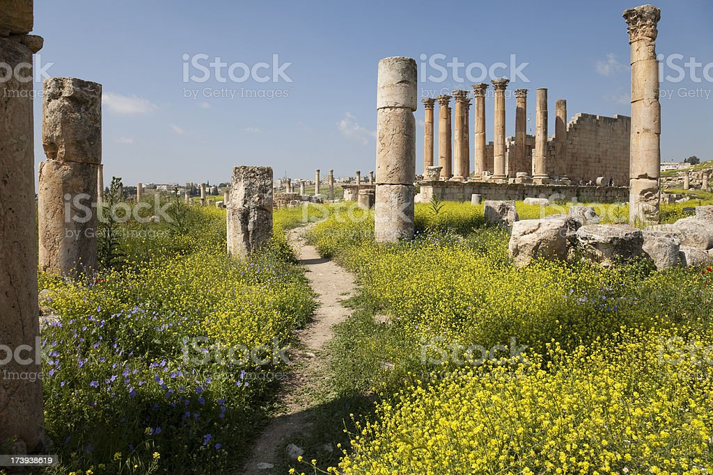 Artemis Temple at Jerash royalty-free stock photo