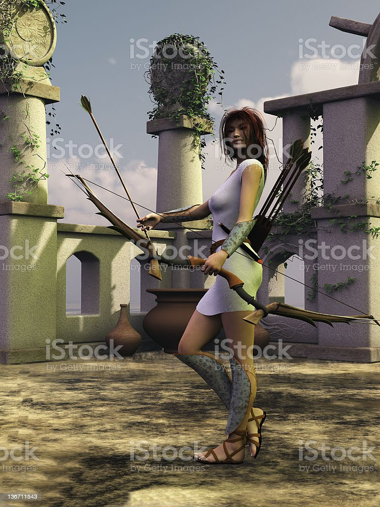 Artemis the huntress royalty-free stock photo