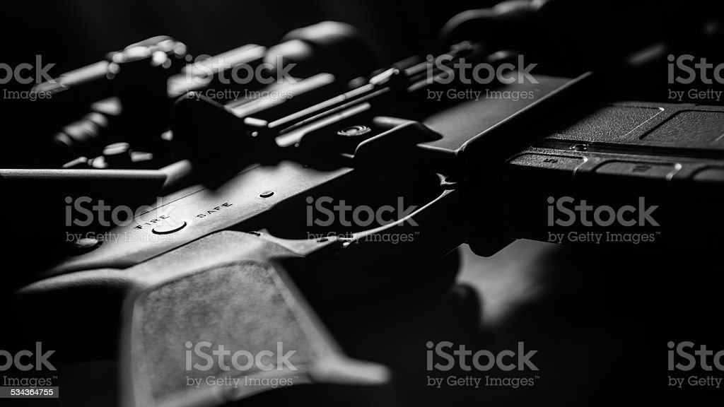 Artful AR-15 Detail in Black and White stock photo