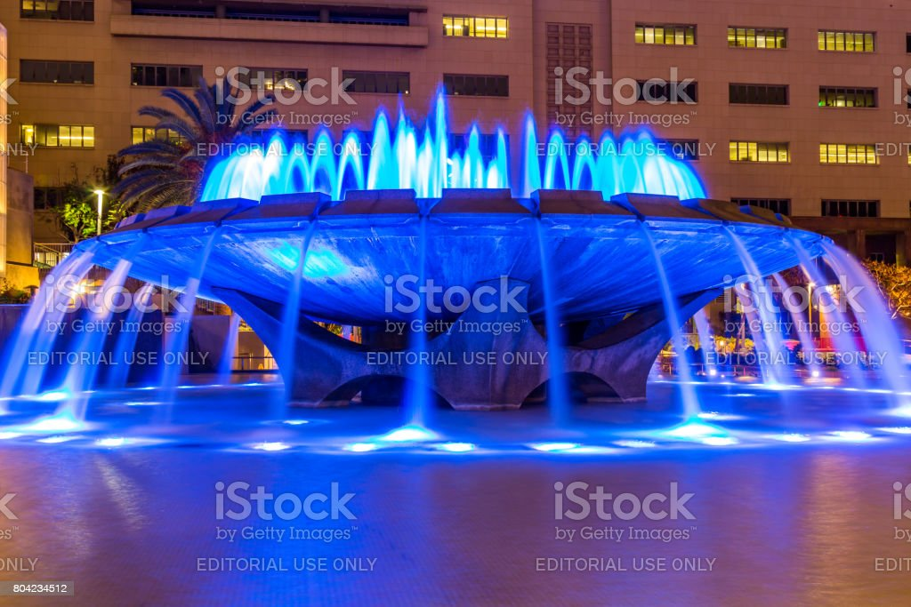 Arthur J. Will Memorial Fountain with Blue LED Lights stock photo