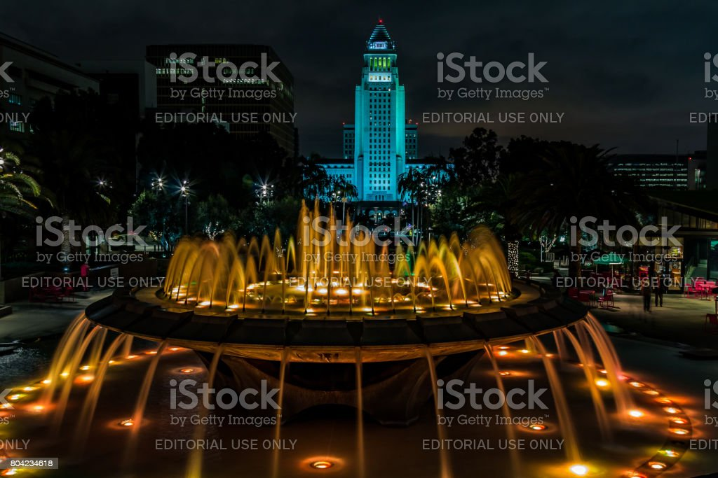 Arthur J. Will Memorial Fountain with Gold LED Lights stock photo