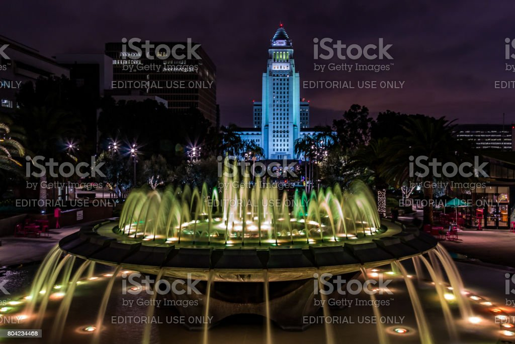 Arthur J. Will Memorial Fountain with Green LED Lights stock photo