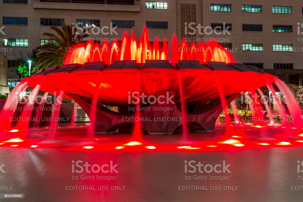Arthur J. Will Memorial Fountain with Red LED Lights stock photo