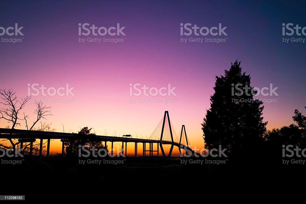 Arthur Ravenal Bridge Silhouette SC stock photo