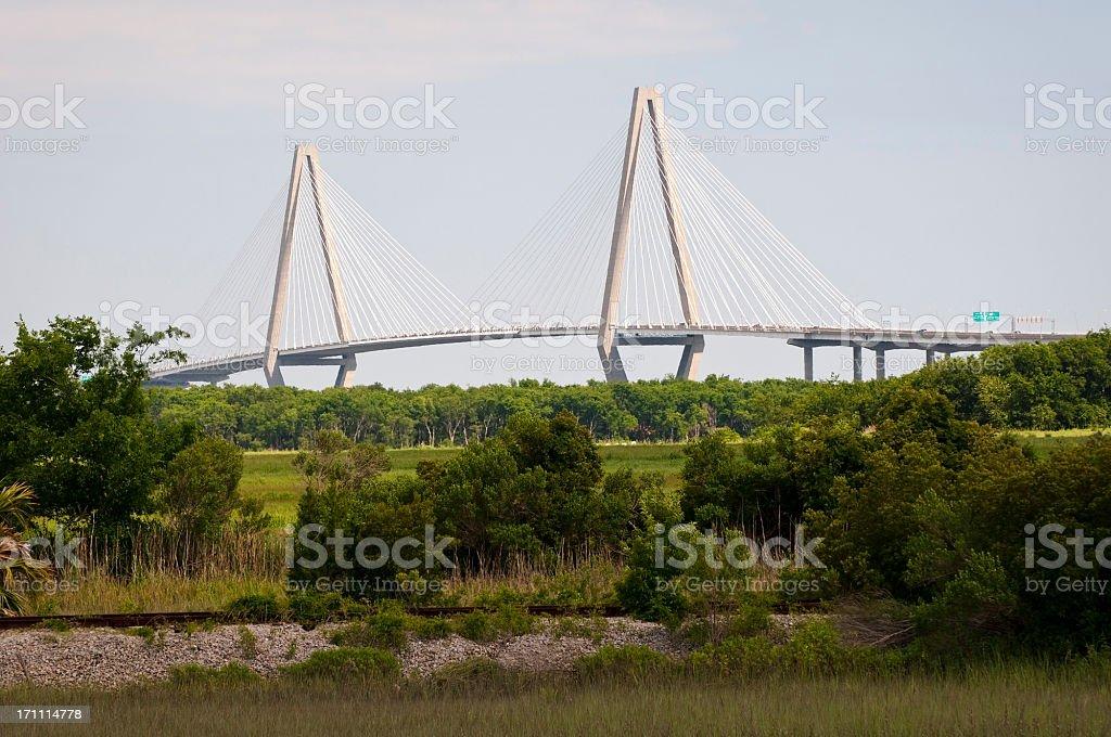 Arthur Ravenel Bridge in Charleston SC stock photo
