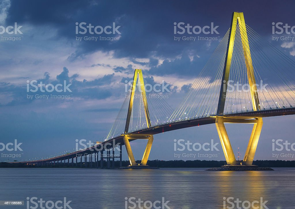 Arthur Ravenel Bridge in Charleston, South Carolina stock photo