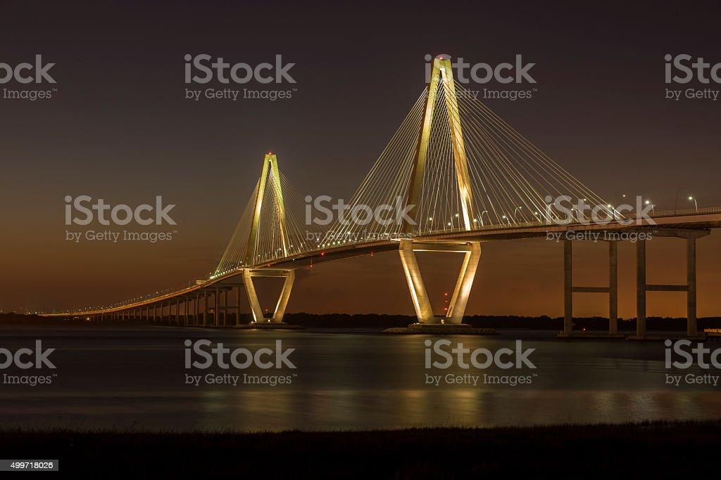 Arthur Ravenel Jr. Bridge at Dusk royalty-free stock photo