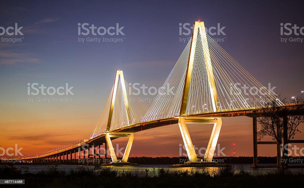 Arthur Ravenel Jr Bridge Illuminated in Evening stock photo