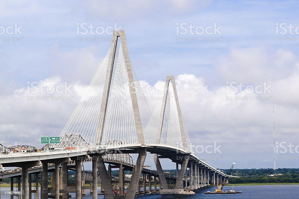 Arthur Ravenel Jr Bridge over Cooper River in Charleston stock photo
