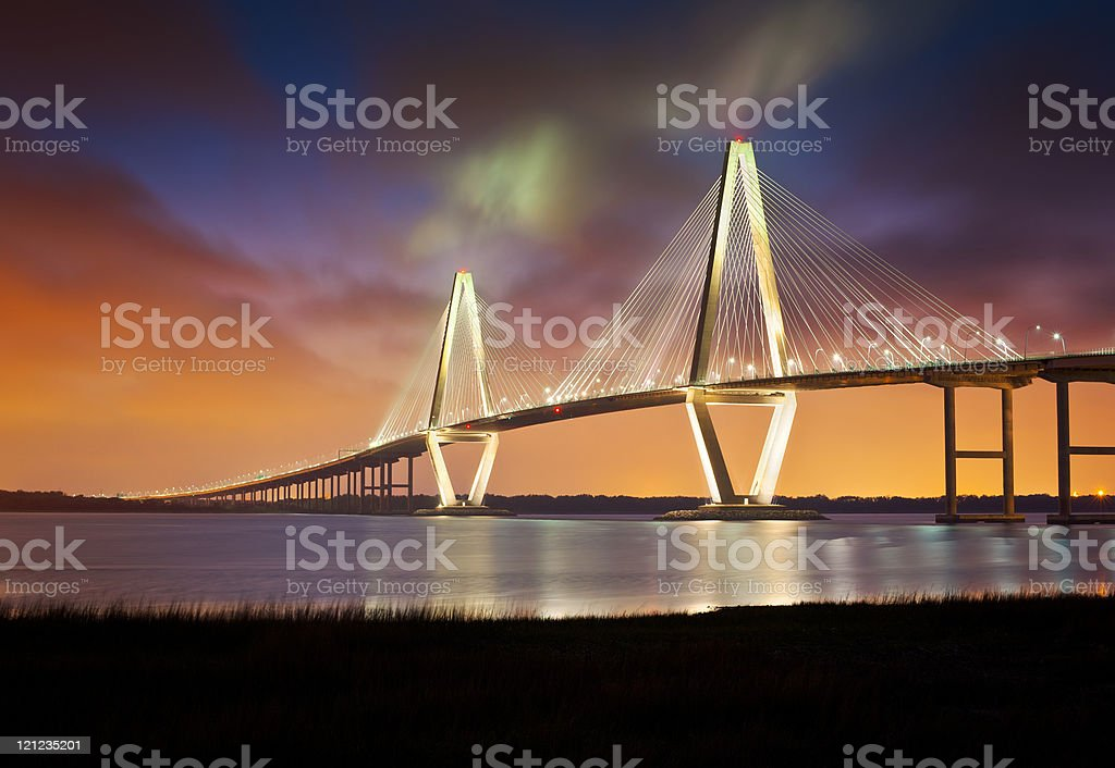 Arthur Ravenel Jr Cooper River Suspension Bridge Charleston SC royalty-free stock photo