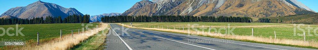 Arthur's Pass Road Panoramic stock photo