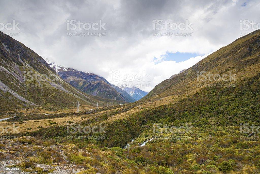 Arthur's Pass Valley, New Zealand stock photo
