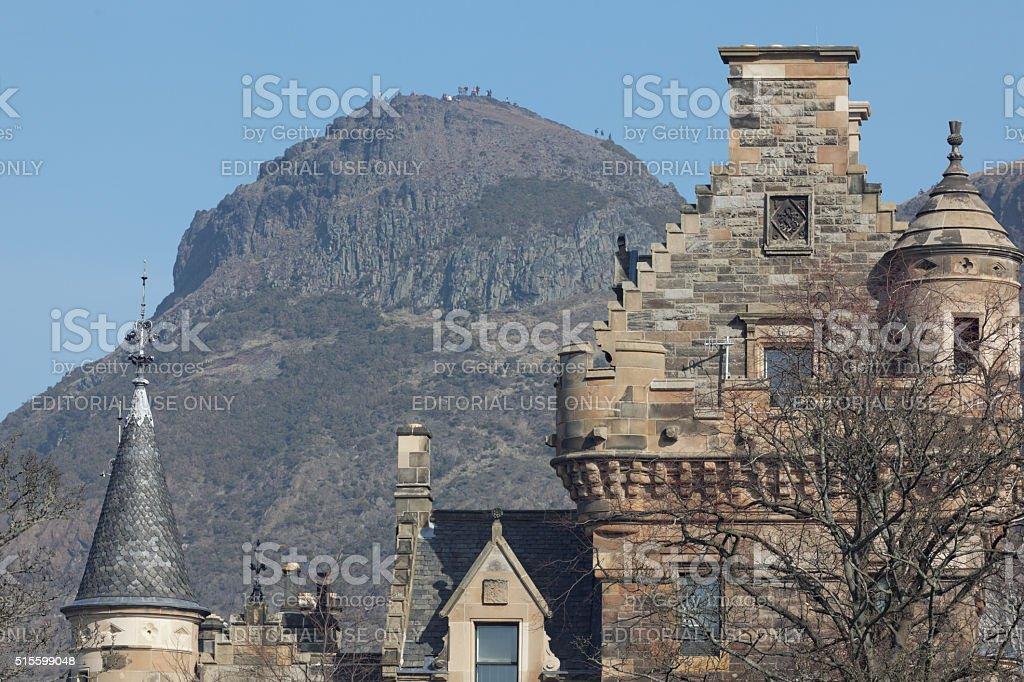 Arthur's seat in Edinburgh behind Scottish mansion stock photo