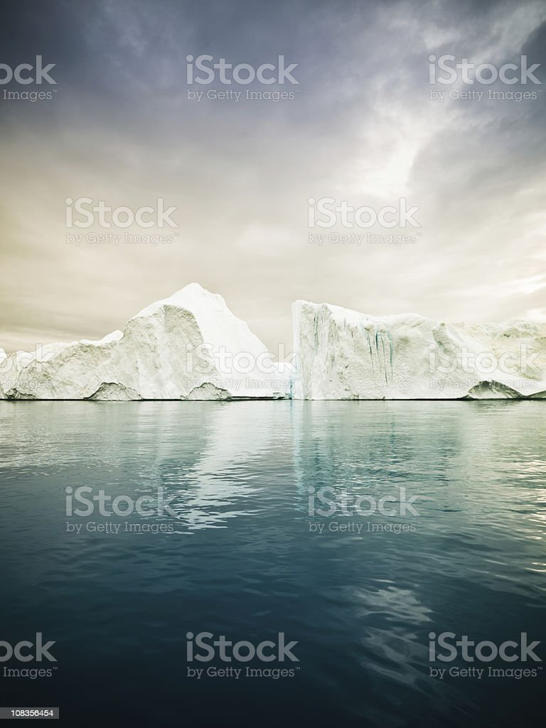 Artic North Pole Icebergs Greenland Fjord stock photo