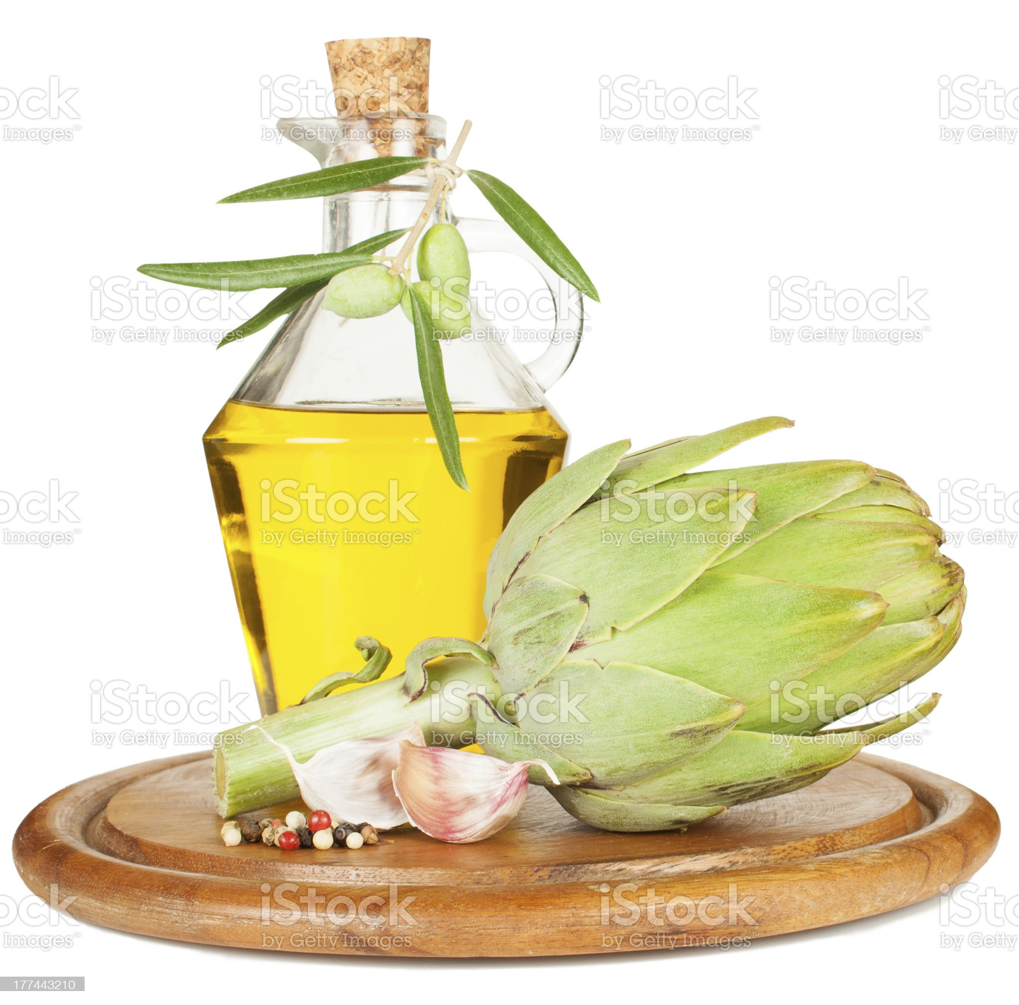 artichoke and olive oil royalty-free stock photo