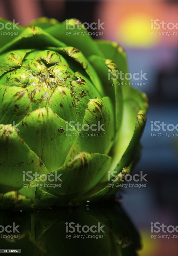 artichoke and reflection on water royalty-free stock photo