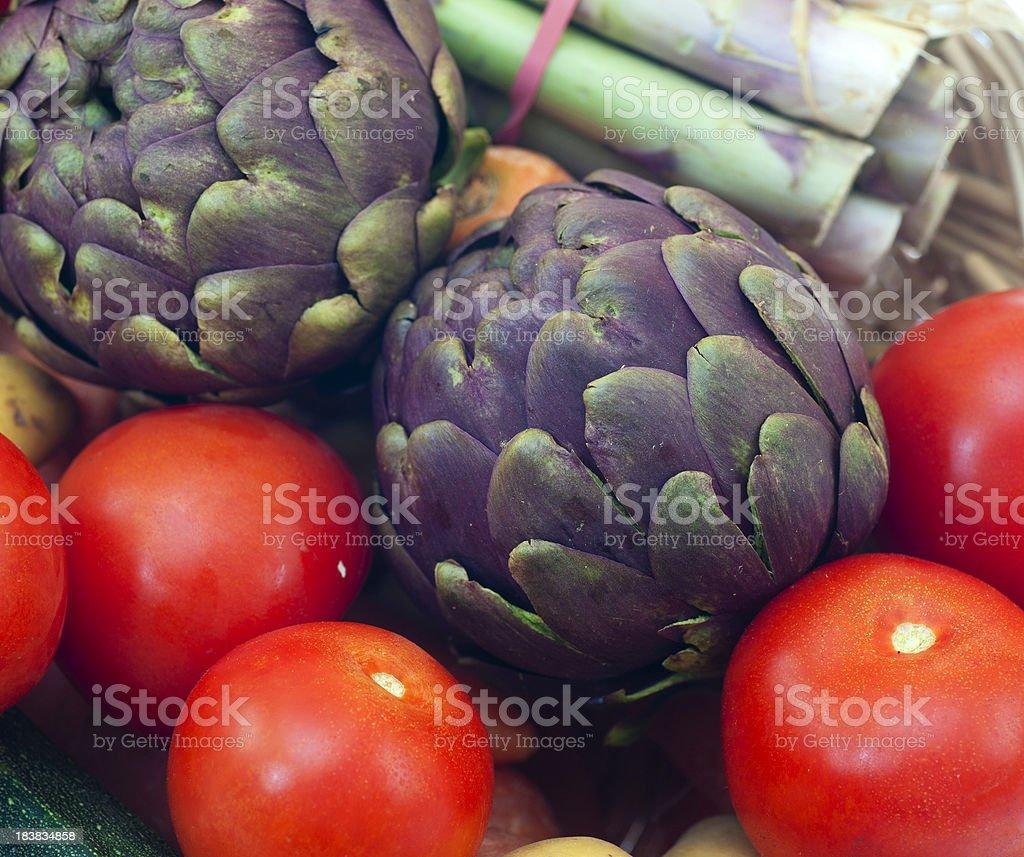 Artichoke and tomato stock photo