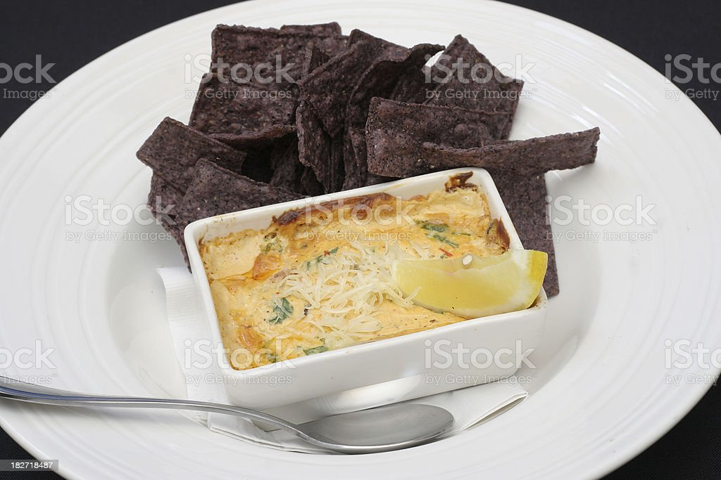 Artichoke Cheese Dip and Chips stock photo