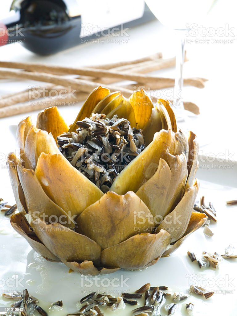 Artichoke cooked in a traditional way stock photo