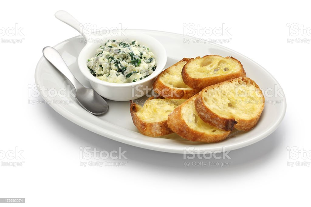 artichoke spinach dip, healthy vegetarian food stock photo