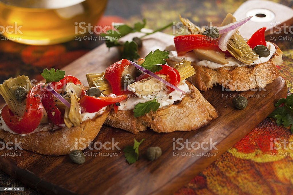 Artichoke Toasts stock photo