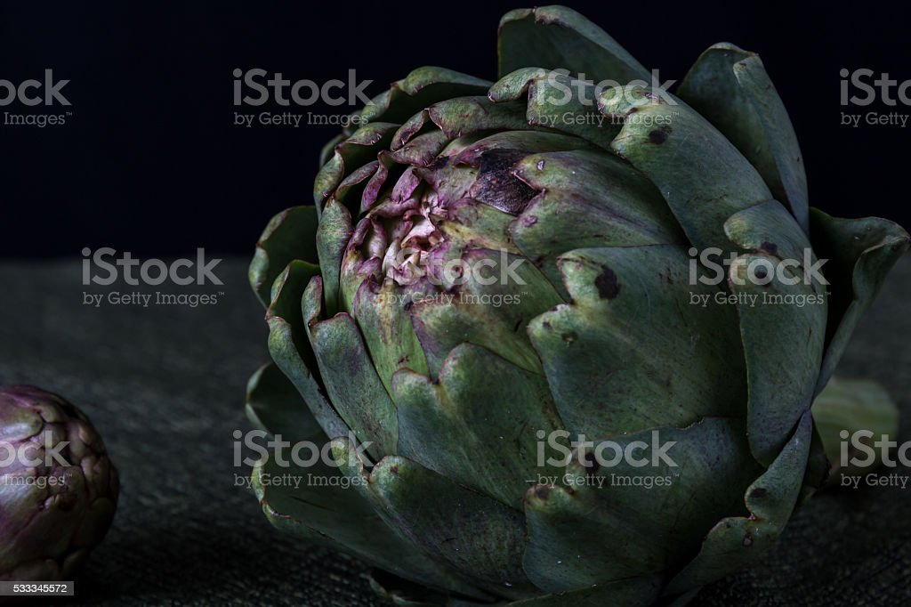 Artichoke with black background stock photo