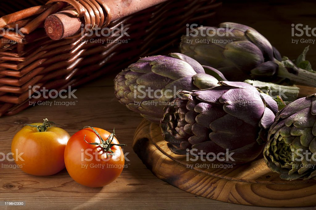Artichokes and Tomatoes royalty-free stock photo
