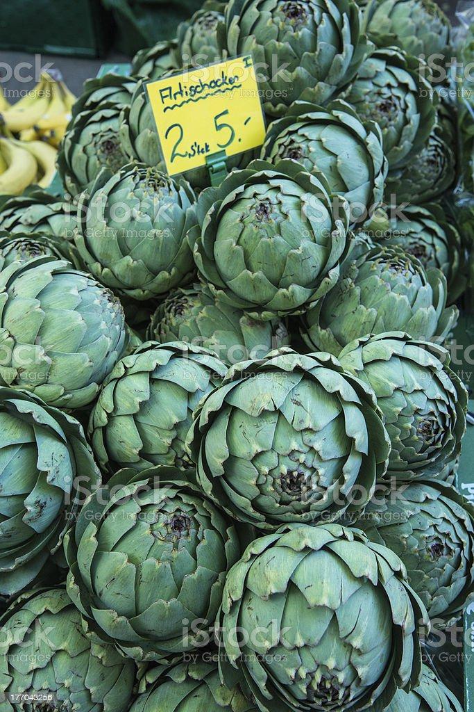 artichokes at farmer's market royalty-free stock photo