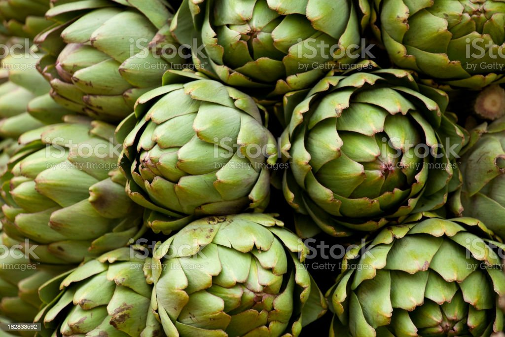 artichokes at local farmer's market stock photo