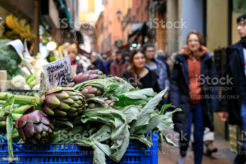Artichokes at market stall, Bologna, Italy stock photo