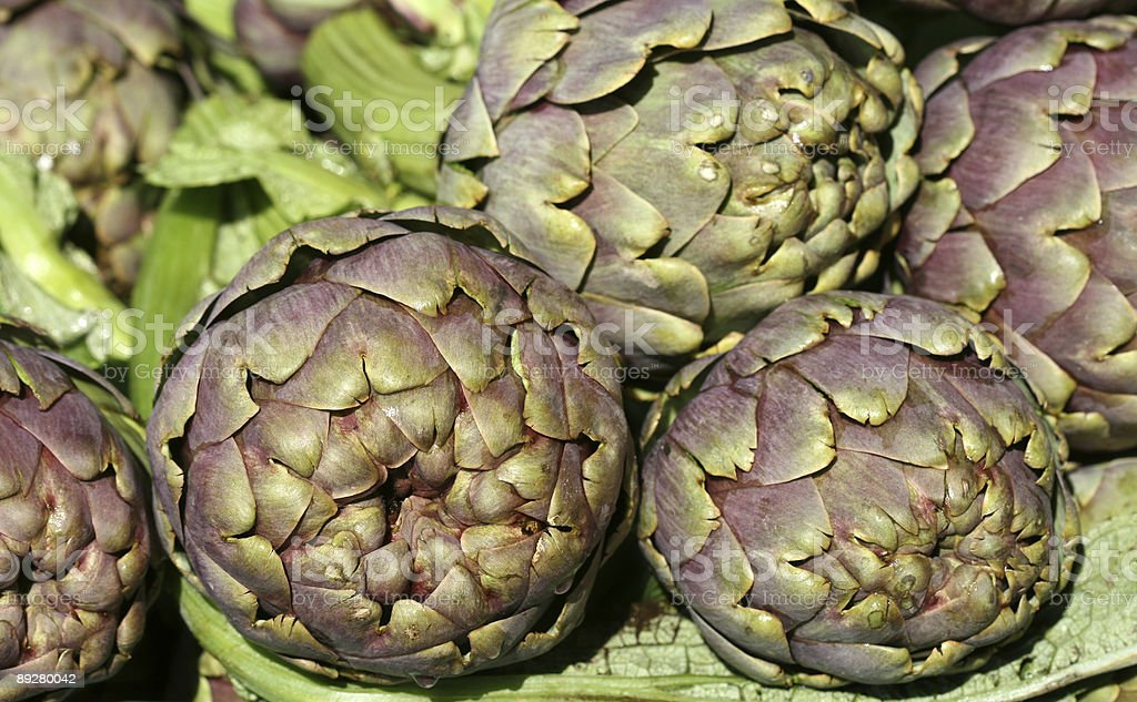 Artichokes close-up in sunlight royalty-free stock photo