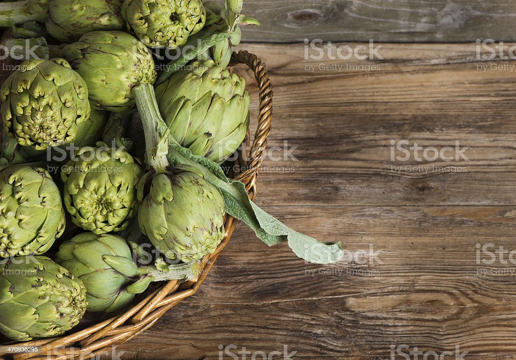 artichokes in the basket stock photo