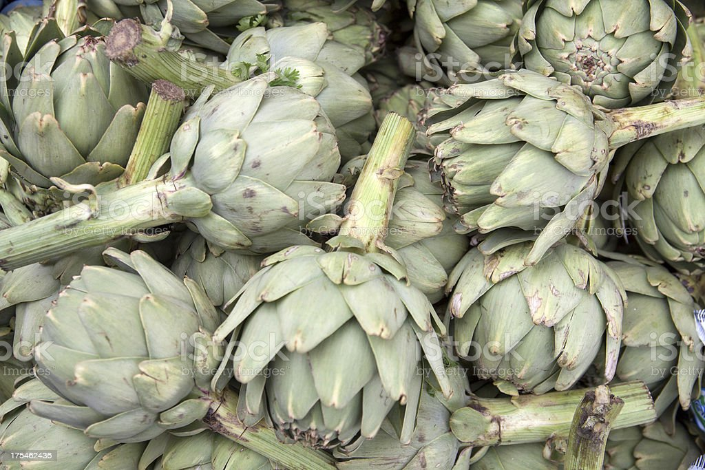 Artichokes on the market royalty-free stock photo