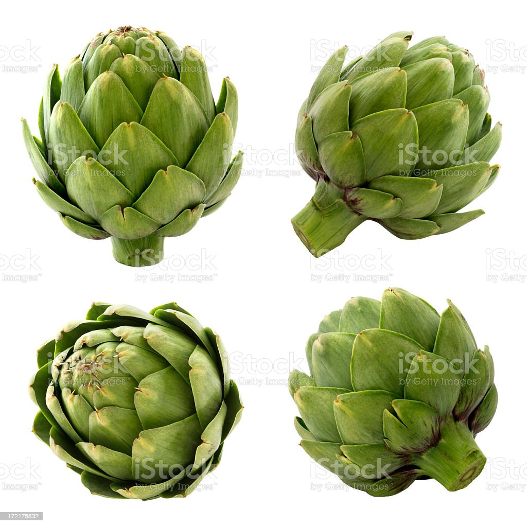 Artichokes on white background stock photo