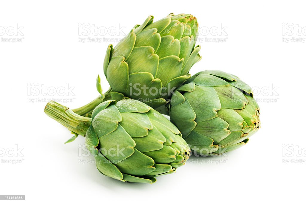 Artichokes, Three Green Fresh Raw Vegetables Isolated on White stock photo