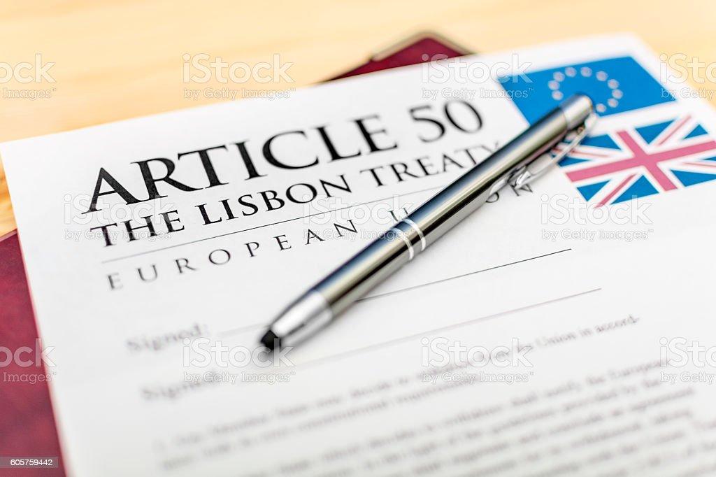 Article 50 - Lisbon Treaty - UK EU Brexit Pen stock photo