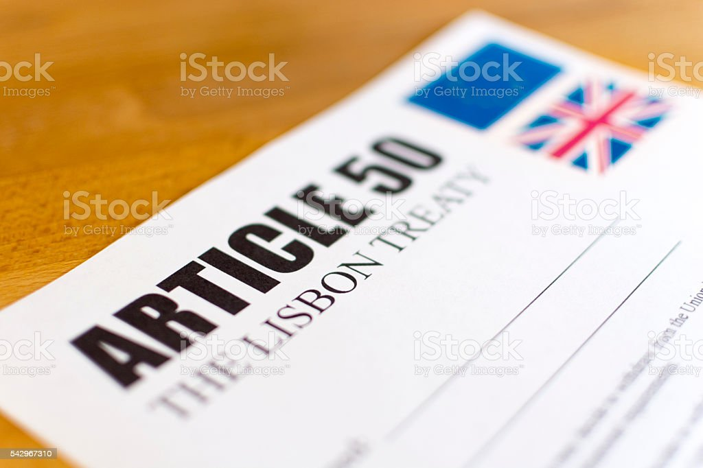 Article 50 - The Lisbon Treaty - Brexit stock photo