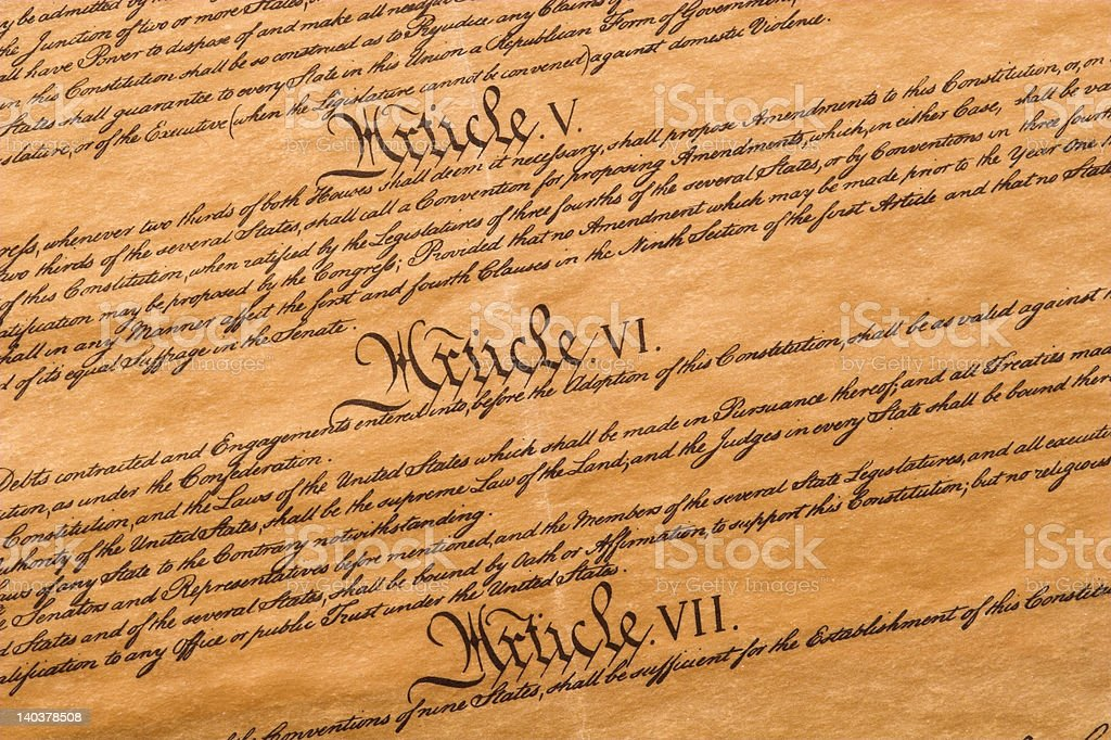 Articles of the U.S. Constitution stock photo