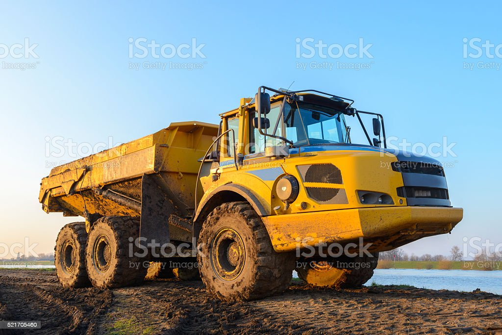 Articulated hauler at a construction site stock photo