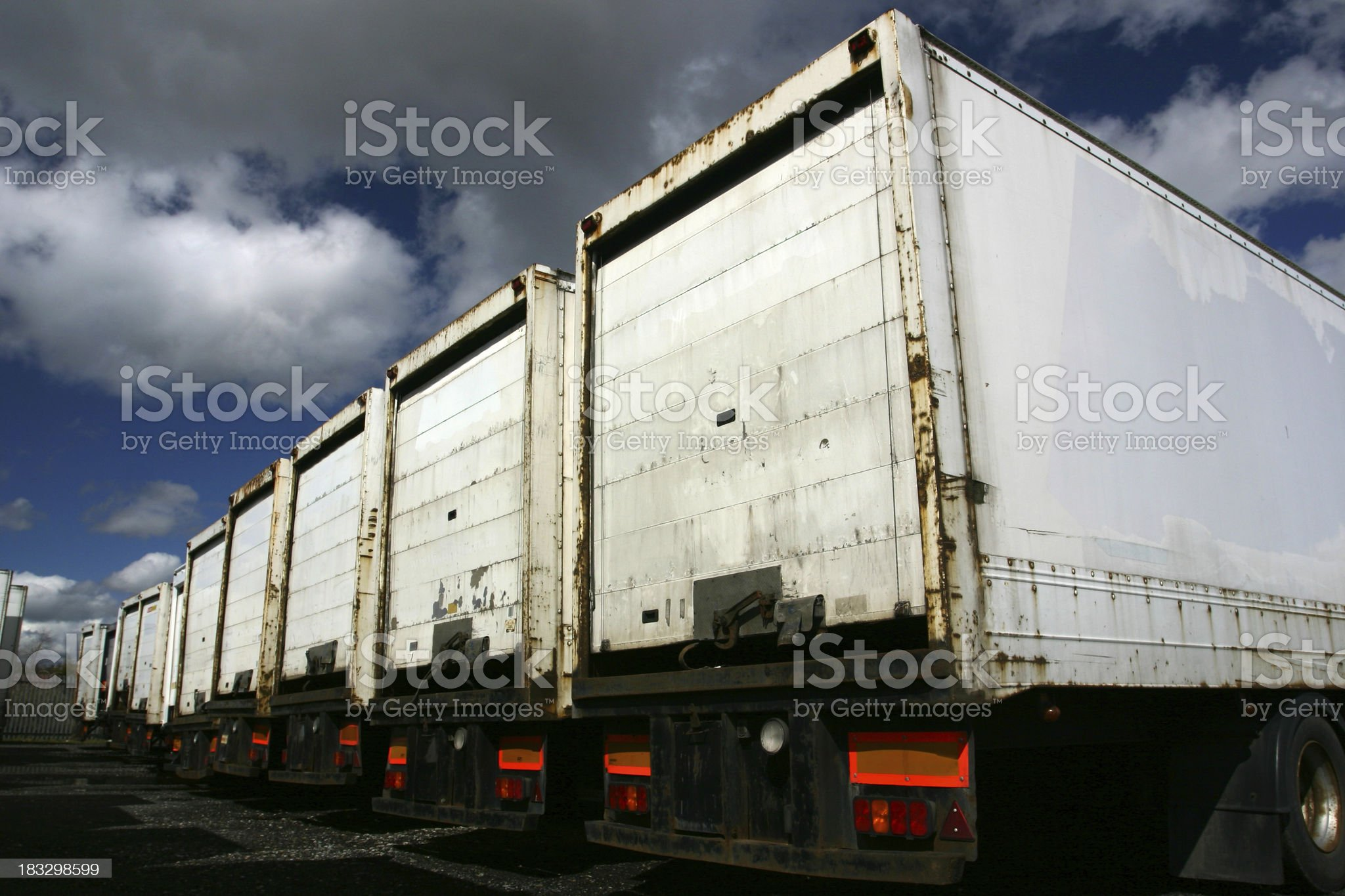 articulated truck trailers in park royalty-free stock photo
